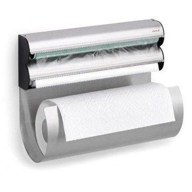 Dérouleur Essuie tout aluminium et film étirable en inox Blomus