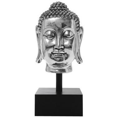 Statue Tête de Bouddha Argenté XL