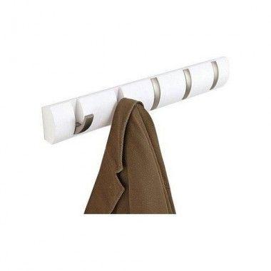 Porte manteau design mural 5 crochets flip blanc laqué
