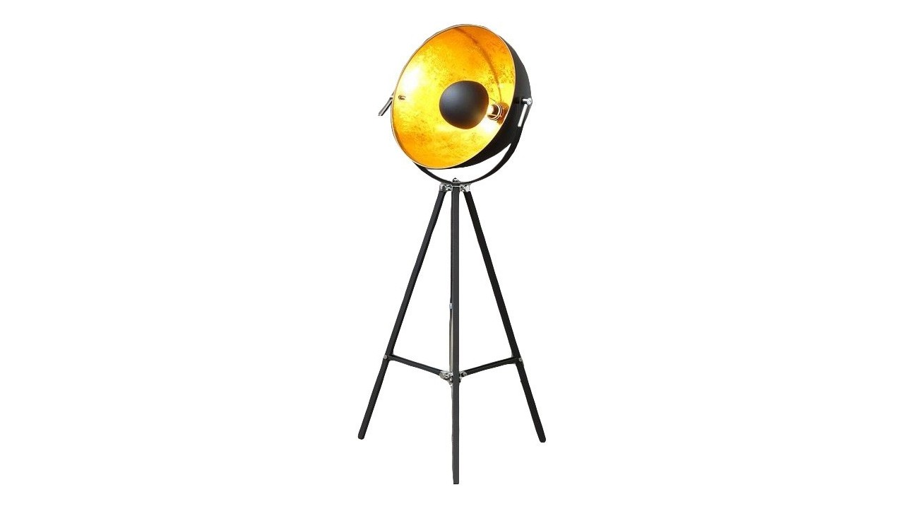 Lampadaire studio photo tr pied bowl noir dor - Lampadaire studio photo ...