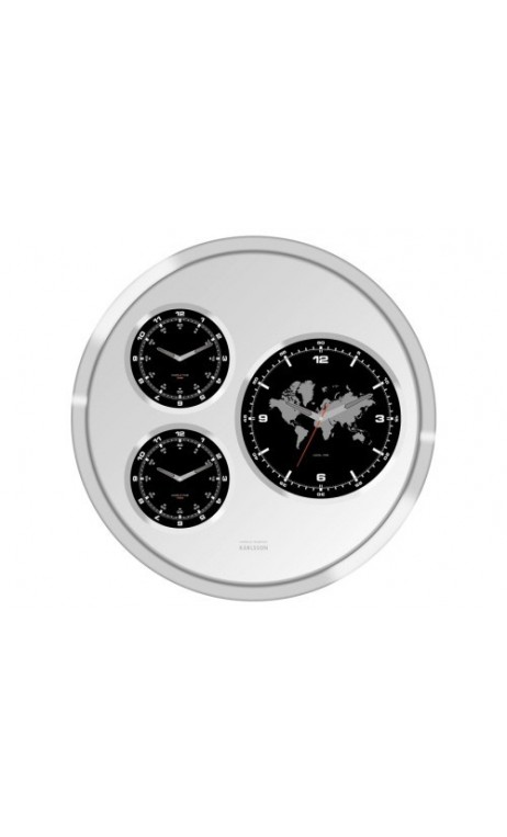 Horloge big tic world time 3 cadrans transparent for Horloge murale 3 cadrans