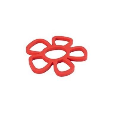 Dessous de plat fleur rouge silicone magnétique