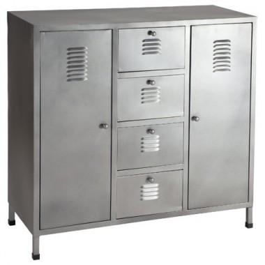 Commode industrielle ''LOFT'' métal 6 compartiments