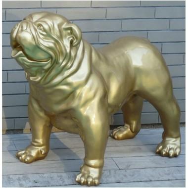 Statue bouledogue anglais doré brillant