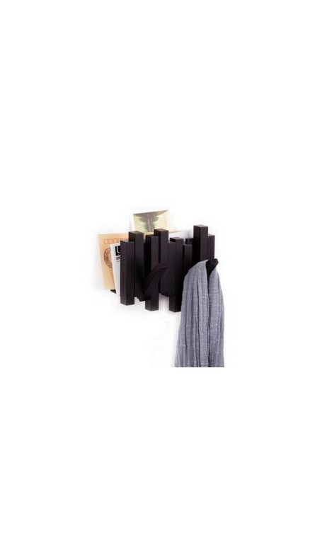 porte manteau range courrier mural sticks 2 crochets noir. Black Bedroom Furniture Sets. Home Design Ideas
