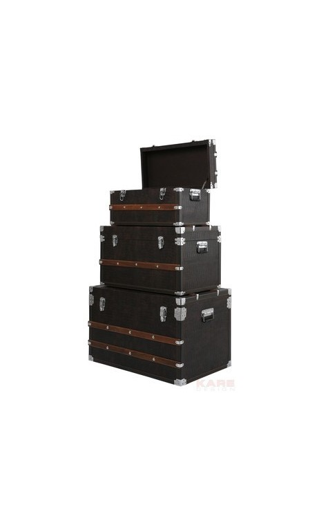 coffres de rangement croco marron 3 set. Black Bedroom Furniture Sets. Home Design Ideas