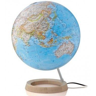 Globe terrestre lumineux bleu Neon Classic sur socle