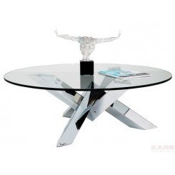 Table basse Crystal design ronde chrome/verre 105 cm