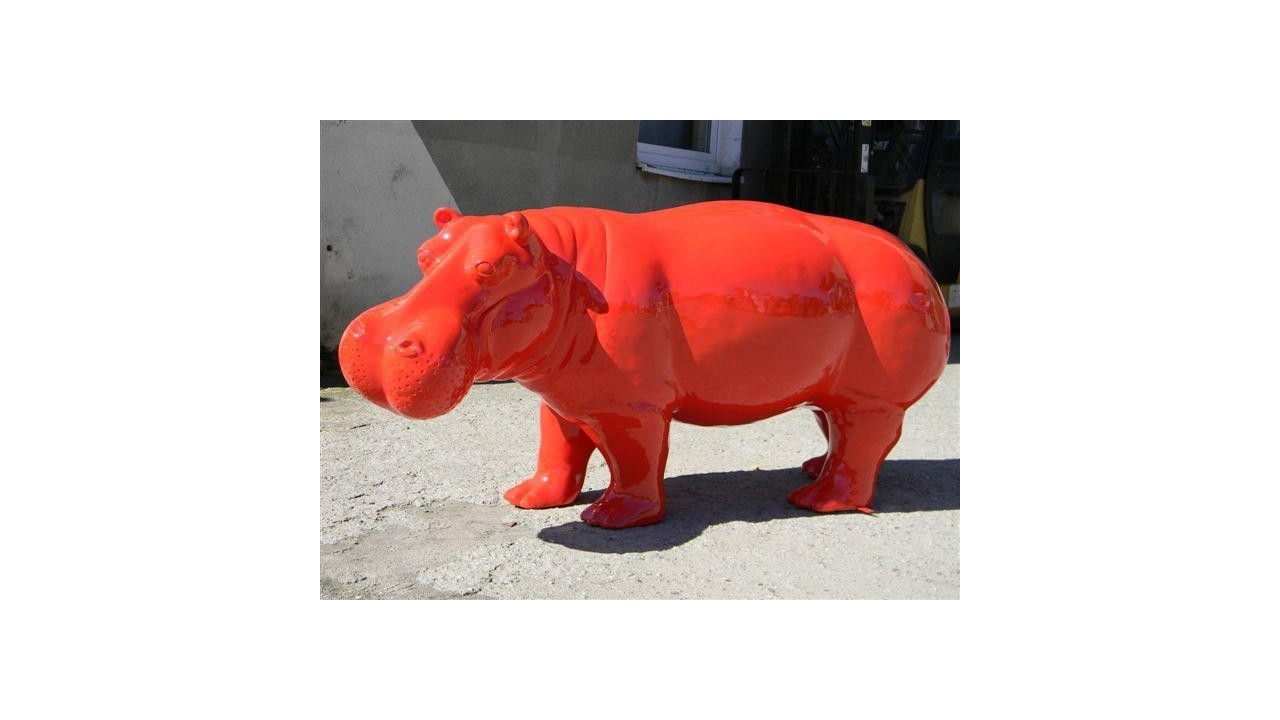 Statue hippopotame rouge grand mod le for Objet decoration hippopotame