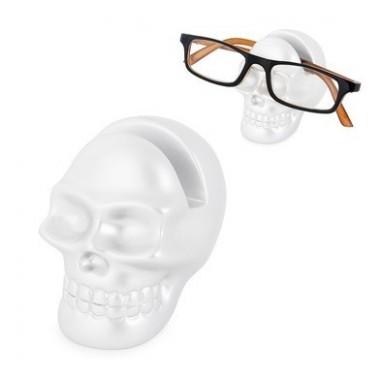 Porte lunettes tête de mort blanc