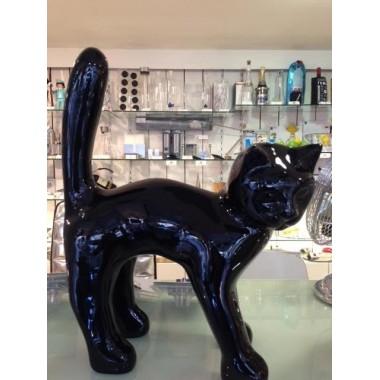 Statue chat noir laqué