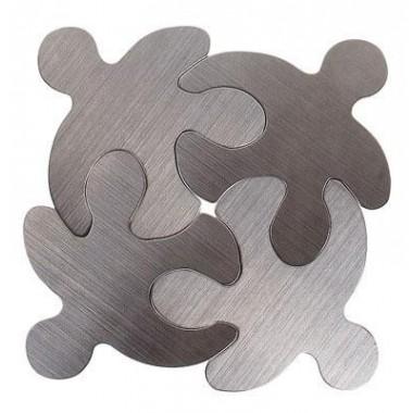 Dessous de plat design bonhomme puzzle acier brossé x4
