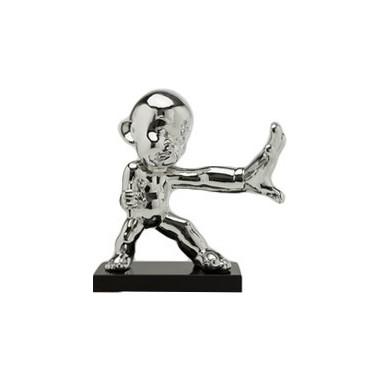 Statue Déco Kung Fu Boy Stop chromé