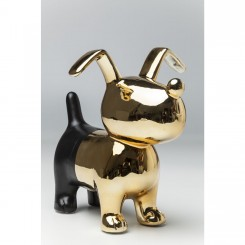 TIRELIRE CHIEN NOIR ET OR DOG KARE DESIGN