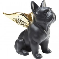 STATUETTE CHIEN BOULEDOGUE NOIR ET OR ANGEL DOG KARE DESIGN