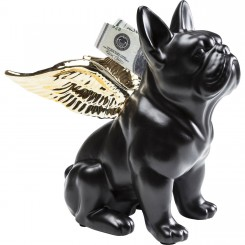 TIRELIRE BOULEDOGUE FRANCAIS NOIR MAT ET AILES D'ANGES DOREE DOG KARE DESIGN