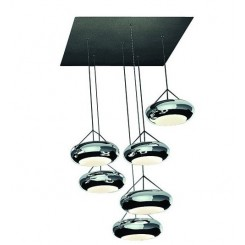 Suspension 6 globes design Led en acier chromé Aura