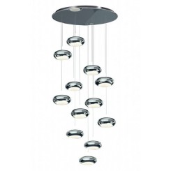 Suspension design 12 globes Led en acier chromé Aura