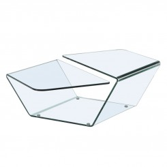 Table basse design 2 plateaux verre transparent Sparkling