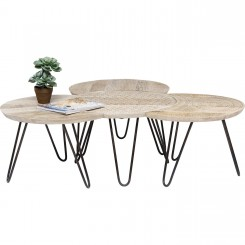 Set de 3 tables d'appoints en bois clair ethnique Puro