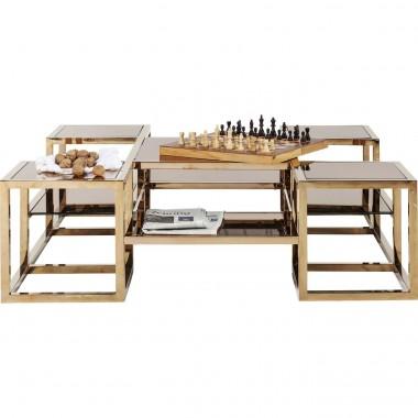 Table basse 120 cm en verre couleur or Gold