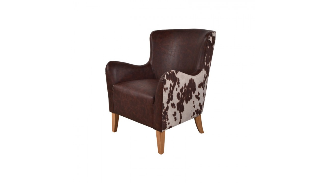 achetez votre fauteuil simili cuir marron peau de vache. Black Bedroom Furniture Sets. Home Design Ideas