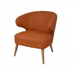 FAUTEUIL VINTAGE SIMILI CUIR CAMEL RELAX DRIMMER MUSEUM