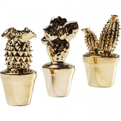 SET DE 3 CACTUS DECORATIF COULEUR OR GLOSSY KARE DESIGN