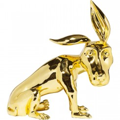 STATUETTE CHIEN COULEUR OR A POSER GOLDFINGER KARE DESIGN