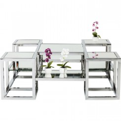 TABLE BASSE PLATEAU MIROIR EN VERRE ET CHROME STEPS KARE DESIGN