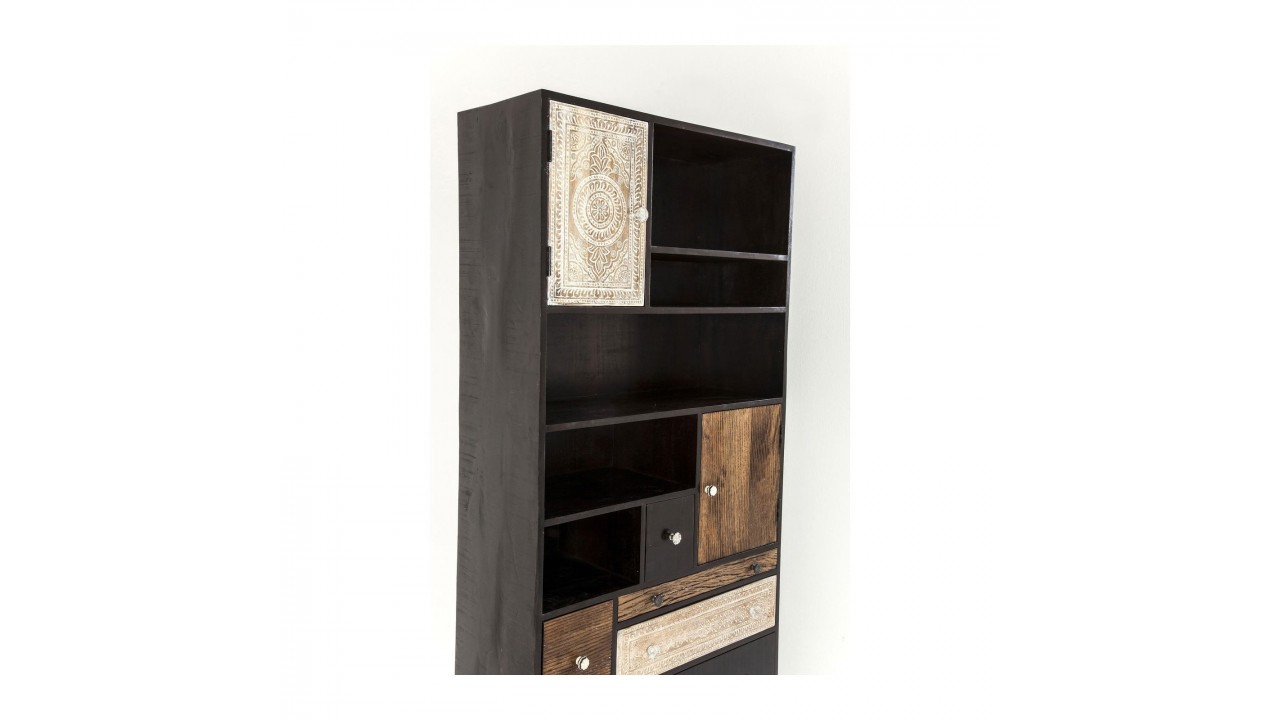 achetez votre biblioth que style exotique en bois marron. Black Bedroom Furniture Sets. Home Design Ideas