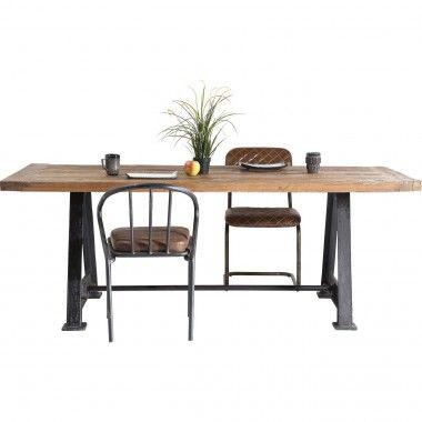 TABLE A MANGER 220 CM BOIS MASSIF INDUSTRIEL RAILWAY KARE DESIGN