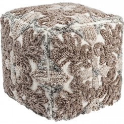 POUF MARRON BRODE EN LAINE 45 X 45 CM ORNAMENTS NATURE KARE DESIGN