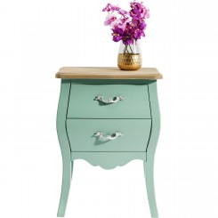 TABLE DE CHEVET VERT MENTHE 2 TIROIRS ROMANTIC KARE DESIGN
