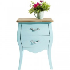 TABLE DE CHEVET BLEU PASTEL 2 TIROIRS ROMANTIC KARE DESIGN