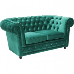 CANAPE 2 PLACES CAPITONNE VERT OXFORD KARE DESIGN
