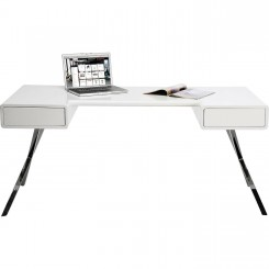 Bureau design blanc et chrome 160 cm Desk Insider