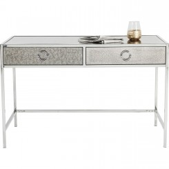 Bureau design plateau miroir et chrome Moonscape