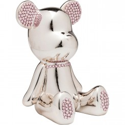 TIRELIRE OURSON CHROME AVEC STRASS ROSE FUNKY BEAR KARE DESIGN