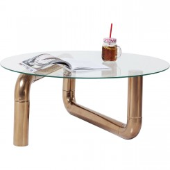 TABLE BASSE DESIGN PLATEAU ROND PIPELINE COPPER KARE DESIGN