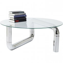 TABLE BASSE CHROMEE PLATEAU ROND PIPELINE COPPER KARE DESIGN