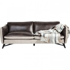 CANAPE 3 PLACES CUIR MARRON ET BEIGE FASHIONISTA KARE DESIGN