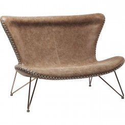 CANAPE 2 PLACES IMITATION CUIR MARRON MIAMI KARE DESIGN
