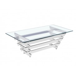 TABLE BASSE DESIGN CHROMEE VERRE TRANSPARENT ANVERS DRIMMER