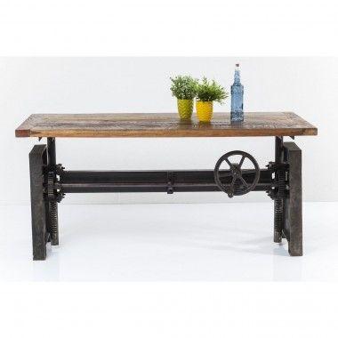 TABLE A MANGER AJUSTABLE 160 CM BOIS ET ACIER STEAMBOAT ECONO KARE DESIGN