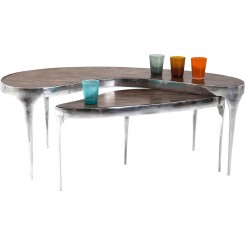 TABLE BASSE BOIS NOYER ET ALUMINIUM X 2 HAVE A BREAK KARE DESIGN