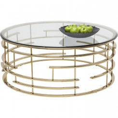 TABLE BASSE DESIGN RONDE 100 CM VERRE ET OR JUPITER KARE DESIGN