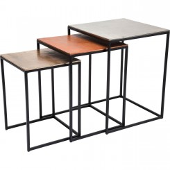 SET DE 3 TABLES D'APPOINTS CUIVREES, ARGENTEES, DOREES SQUARE VINTAGE KARE DESIGN
