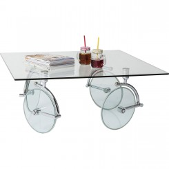 TABLE BASSE CARREE VERRE TRANSPARENT 100 X 100 CM WHEELS KARE DESIGN