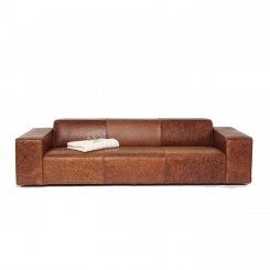 CANAPE VINTAGE 3 PLACES CUIR MARRON BIG HUG KARE DESIGN